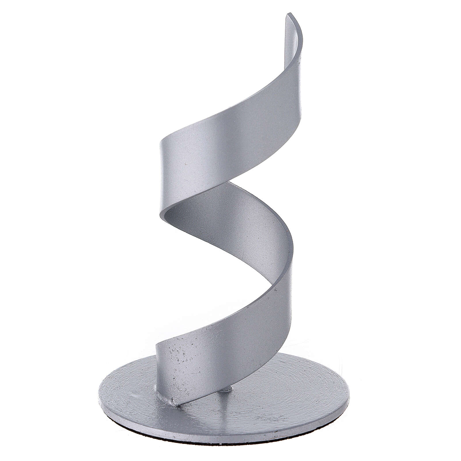 Spiral candle holder of brushed aluminium 1 1/2 in 3