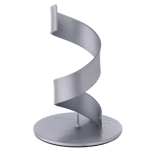 Spiral candle holder of brushed aluminium 1 1/2 in 1