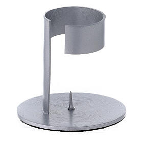 Candleholder with band in brushed aluminium, 4 cm s2