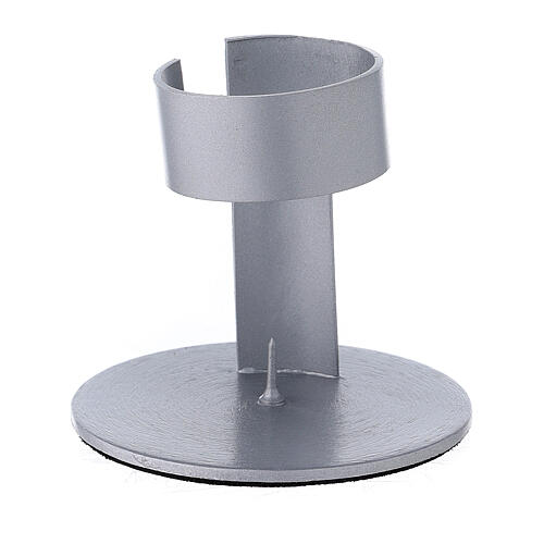 Candleholder with band in brushed aluminium, 4 cm 1