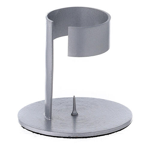Candleholder with band in brushed aluminium, 4 cm 2