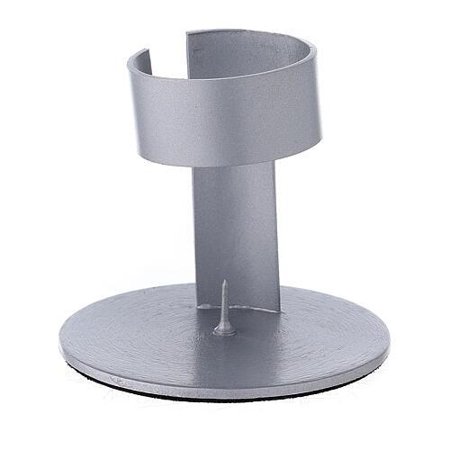 Porta-vela faixa alumínio escovado 4 cm 1