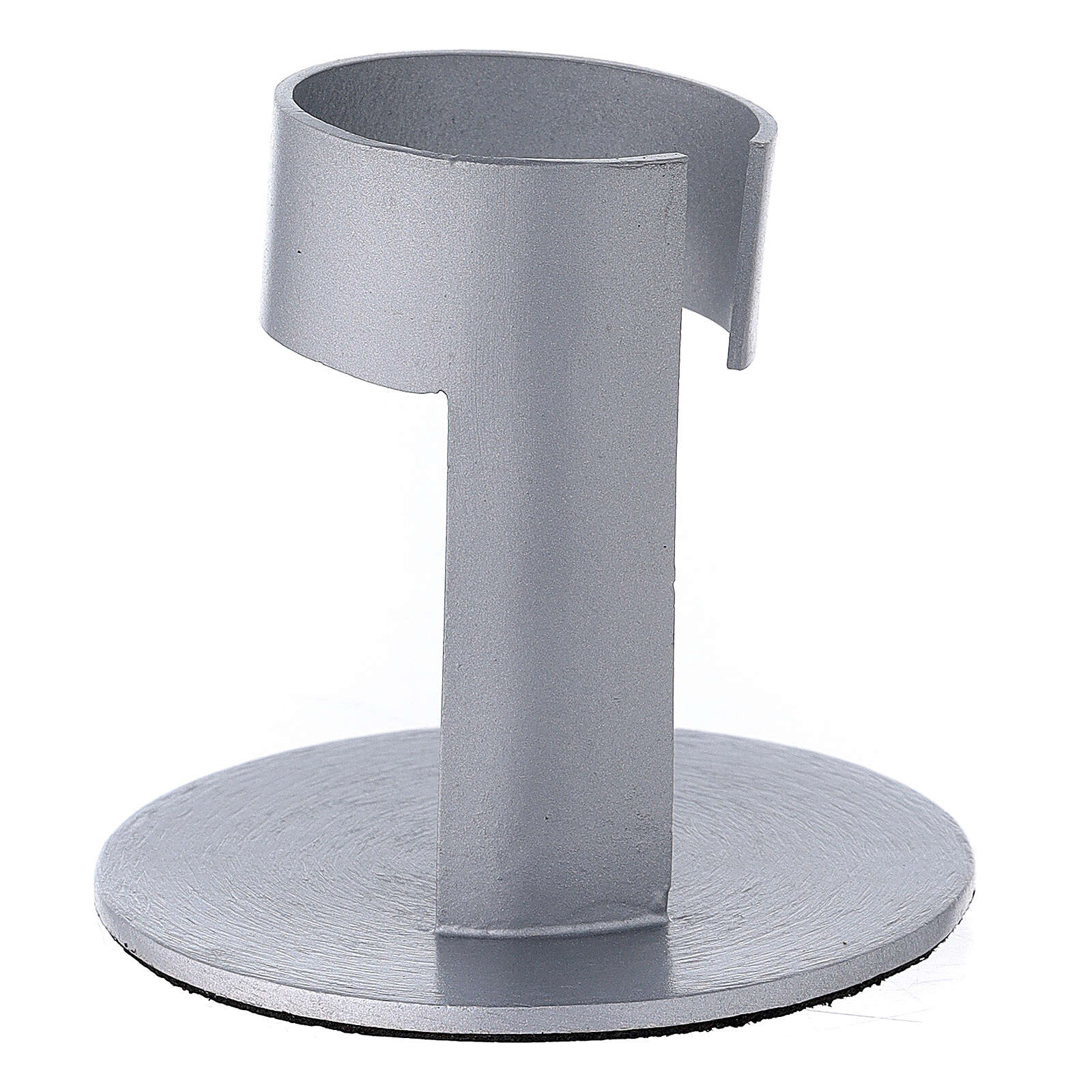 Brushed aluminium candle holder with high socket 1 1/2 in 3