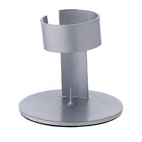 Brushed aluminium candle holder with high socket 1 1/2 in s1