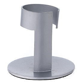 Brushed aluminium candle holder with high socket 1 1/2 in s3