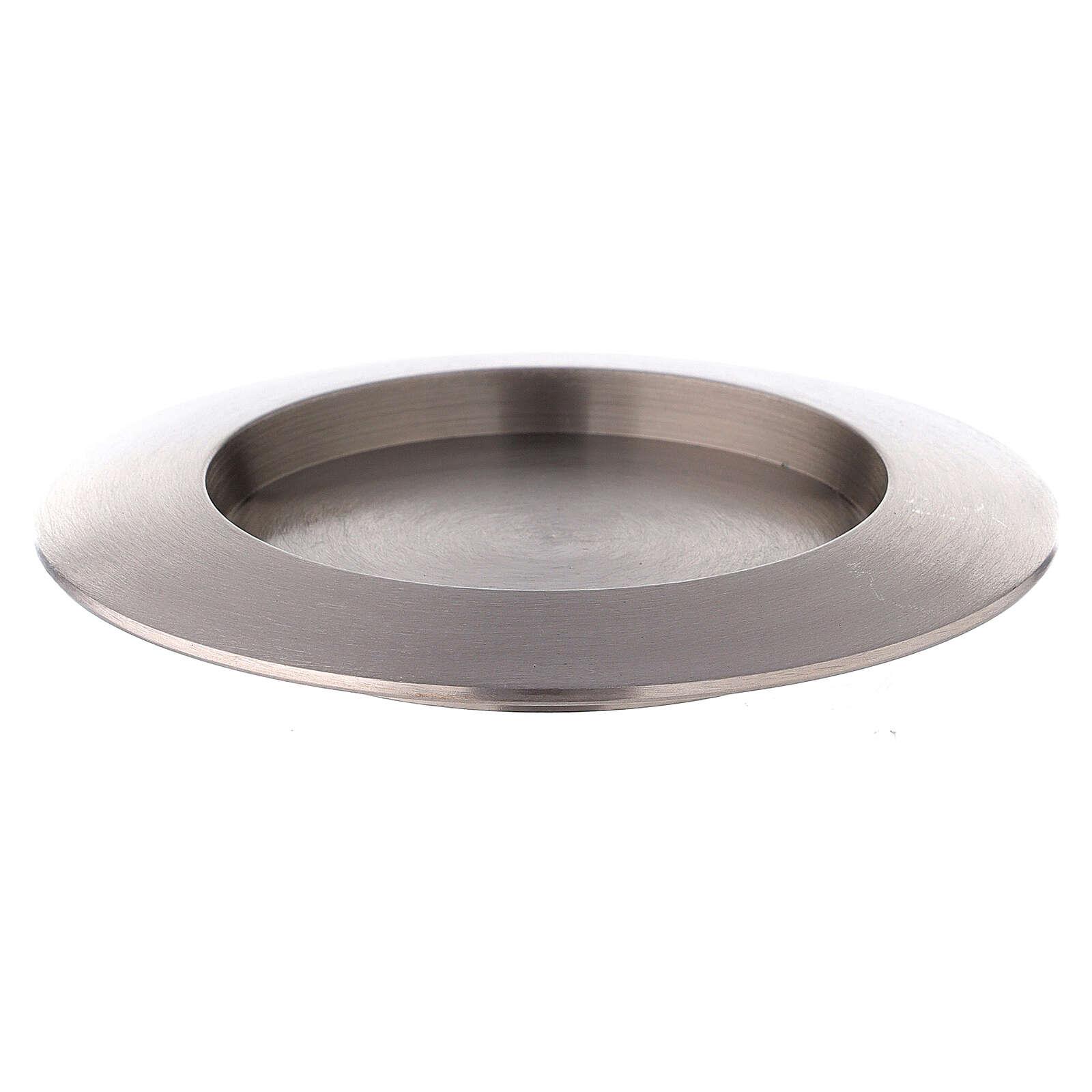 Portavela circular latón niquelado satinado 8 cm 3