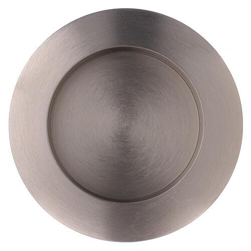 Portavela circular latón niquelado satinado 8 cm 2
