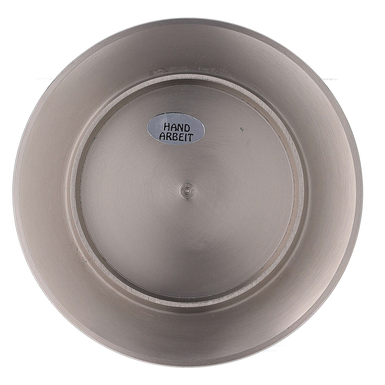 Circular candle holder of nickel-plated brass with satin finish 3 in 3