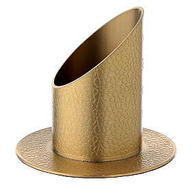 Portavela latón dorado efecto verdadero cuero 5 cm s2