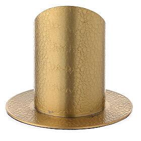 Portavela latón dorado efecto verdadero cuero 5 cm s3