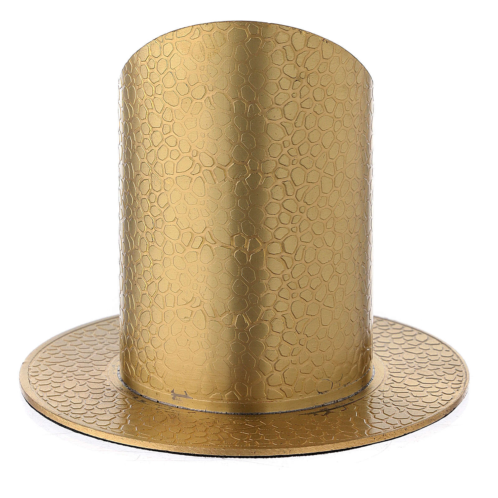 Gold plated brass candle holder with leather finish 2 in 3