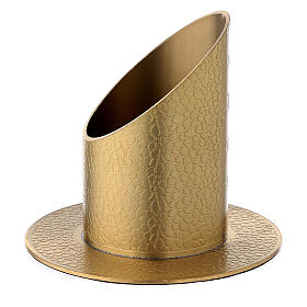 Gold plated brass candle holder with leather finish 2 in s2