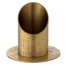 Base portavela 5 cm latón dorado líneas cruzadas s1