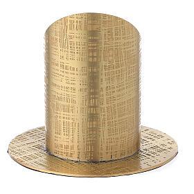 Base portavela 5 cm latón dorado líneas cruzadas s3