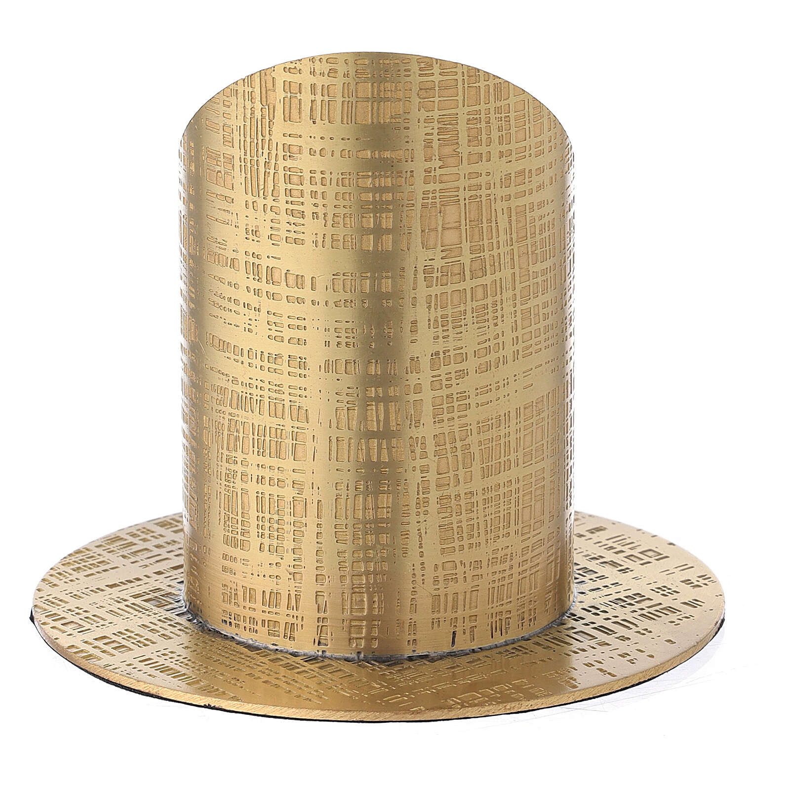 Gold plated brass candle holder with perpendicular lines 2 in 3