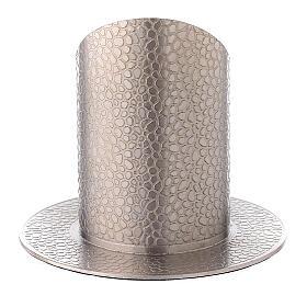 Base portacirio latón niquelado efecto cuero 5 cm s3