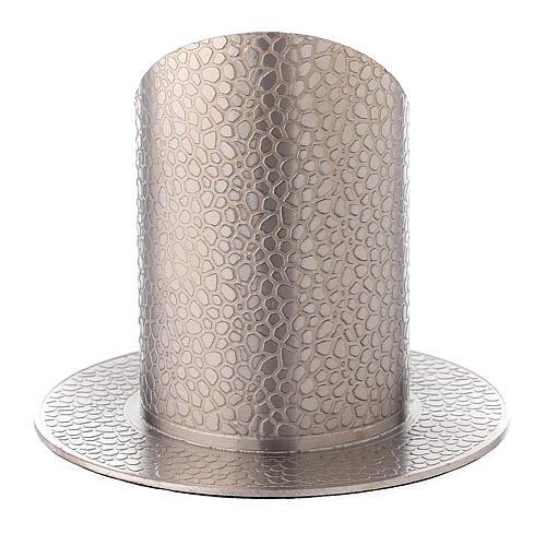 Base portacirio latón niquelado efecto cuero 5 cm 3