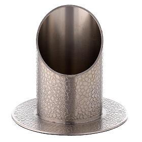 Bougoeir laiton nickelé effet cuir 5 cm s1