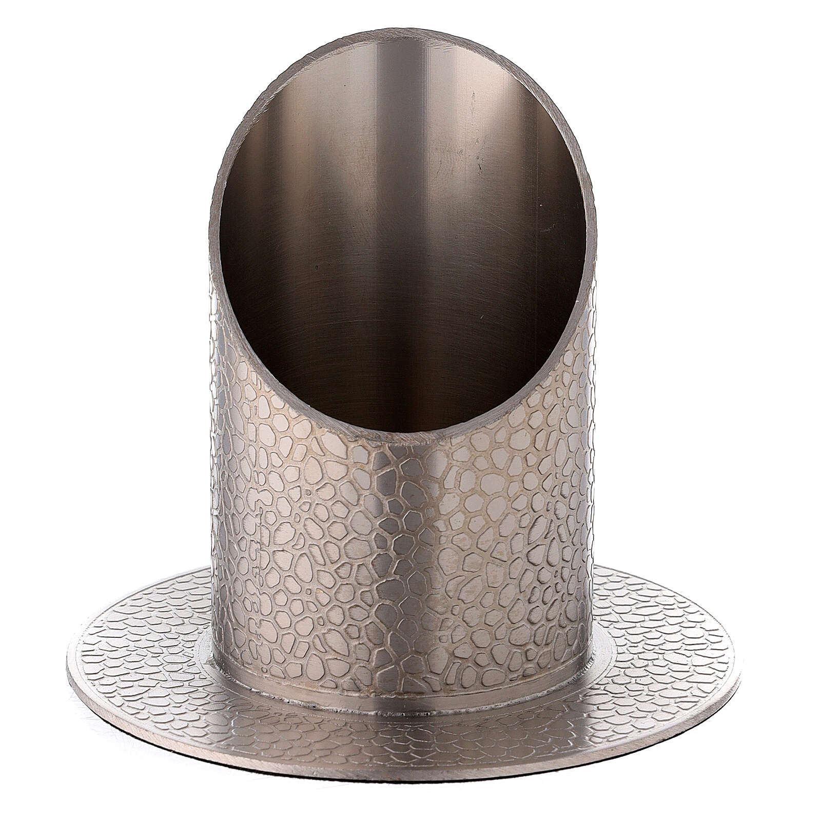 Nickel-plated brass candle holder leather effect 2 in 4