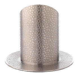 Nickel-plated brass candle holder leather effect 2 in s3