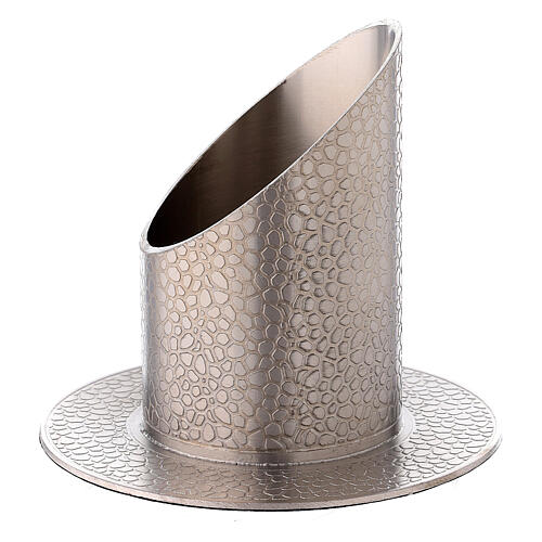 Nickel-plated brass candle holder leather effect 2 in 2