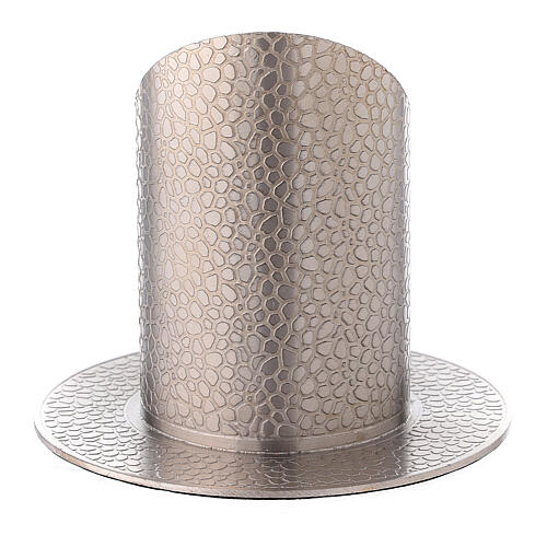 Nickel-plated brass candle holder leather effect 2 in 3