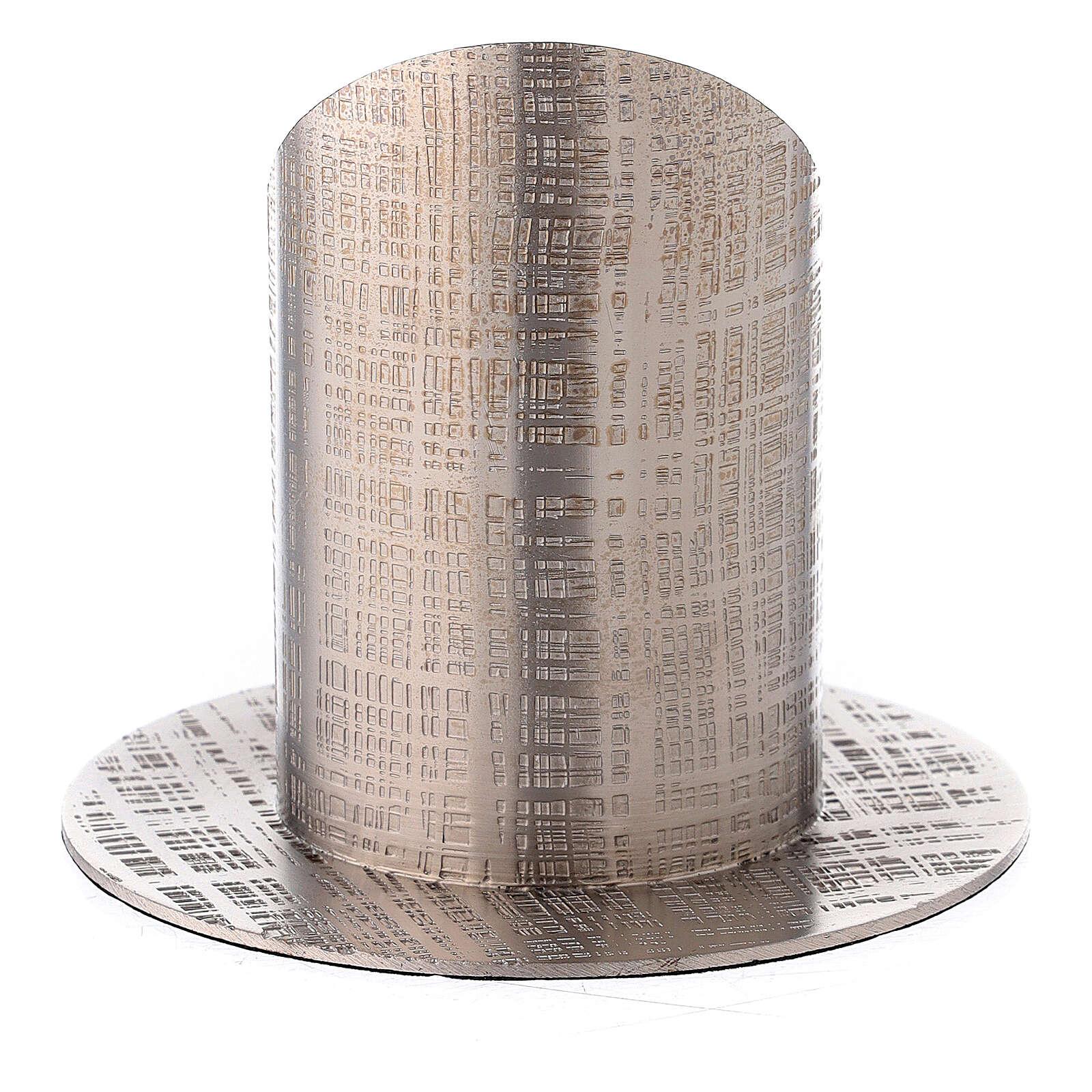 Bougeoir laiton nickelé lignes croisées 5 cm 4