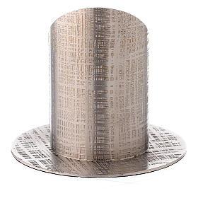 Bougeoir laiton nickelé lignes croisées 5 cm s3