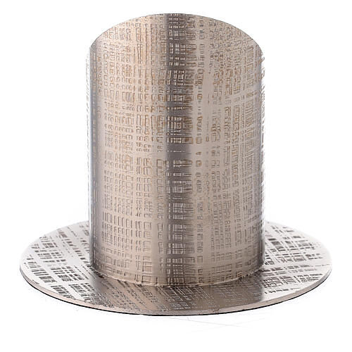 Bougeoir laiton nickelé lignes croisées 5 cm 3