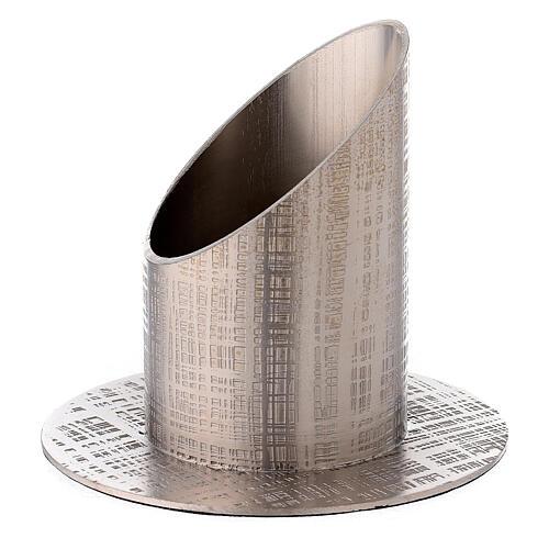 Portacandela ottone nichelato linee intrecciate 5 cm 2