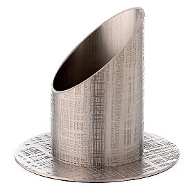 Nickel-plated brass candle holder with perpendicular lines 2 in s2