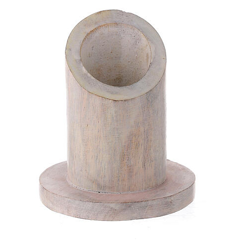 Pale mango wood candle holder with mitered socket 1 1/4 in 1