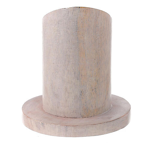 Pale mango wood candle holder with mitered socket 1 1/4 in 3
