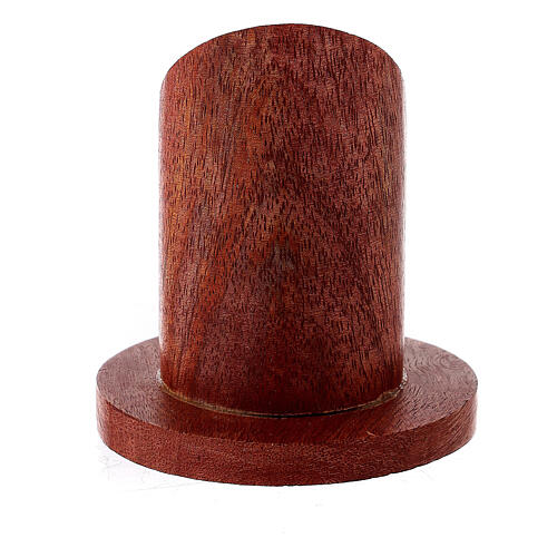 Dark mango wood candle holder with mitered socket 1 1/4 in 3