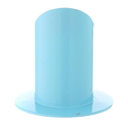 Portavela azul claro hierro 5 cm 3