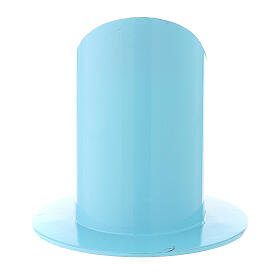 Portacandela azzurro chiaro ferro 5 cm s3