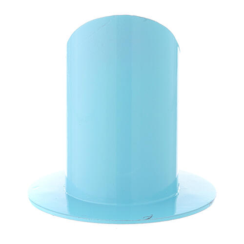 Portacandela azzurro chiaro ferro 5 cm 3