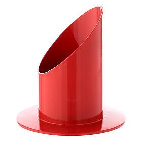 Bougeoir rouge brillant fer 5 cm s2