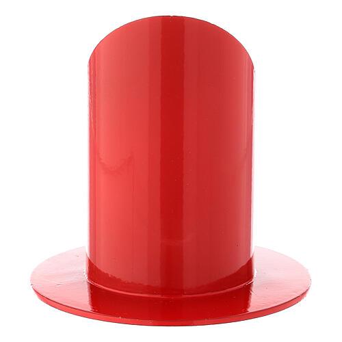 Bougeoir rouge brillant fer 5 cm 3
