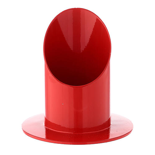 Portacandela rosso lucido ferro 5 cm 1