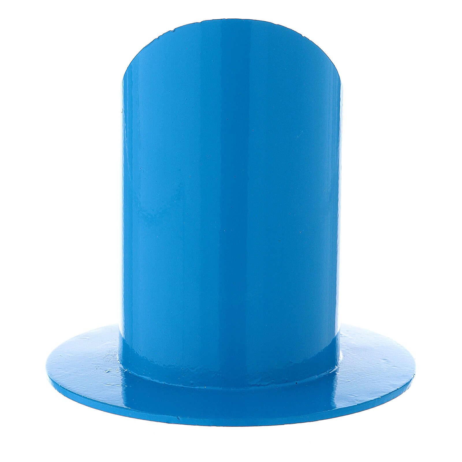 Portavela azul eléctrico 5 cm hierro 3