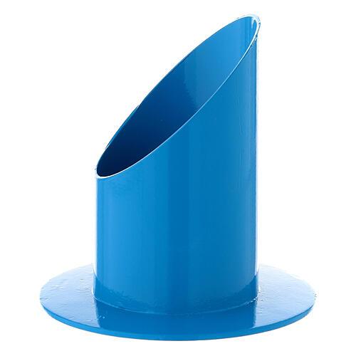 Portavela azul eléctrico 5 cm hierro 2
