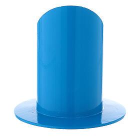 Portacandela blu elettrico 5 cm ferro s3