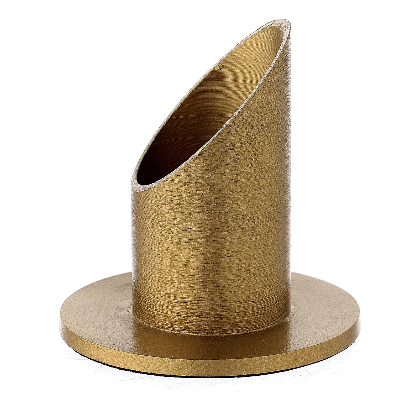 Portacandela alluminio dorato satinato 4 cm 3