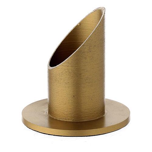 Portacandela alluminio dorato satinato 4 cm 2