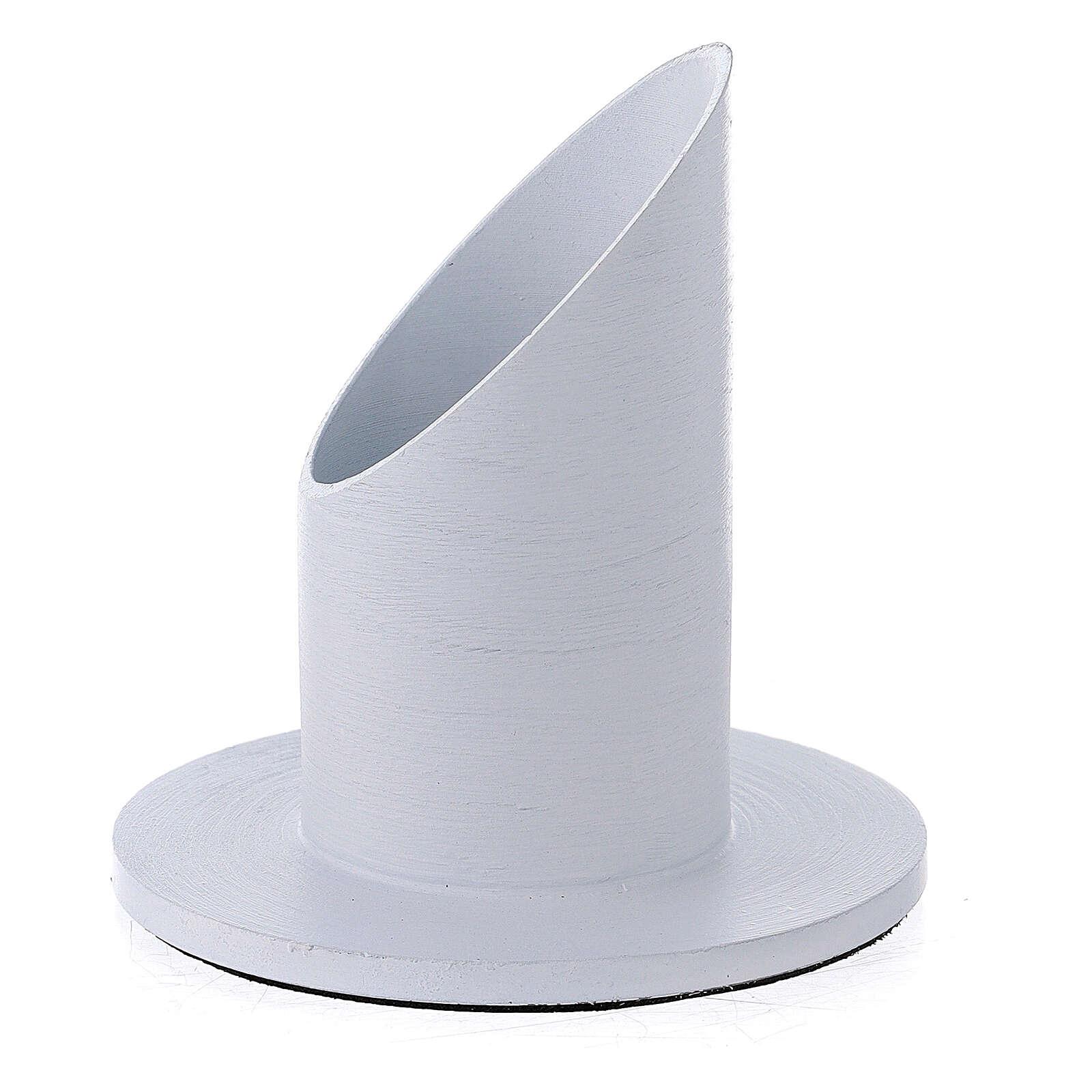Portacandela alluminio spazzolato bianco 4 cm 3