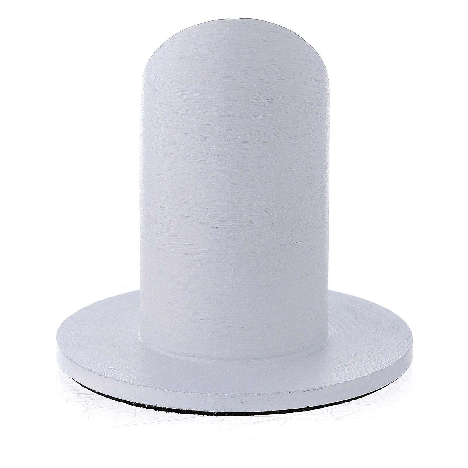 White brushed aluminium candle holder 1 1/2 in 3