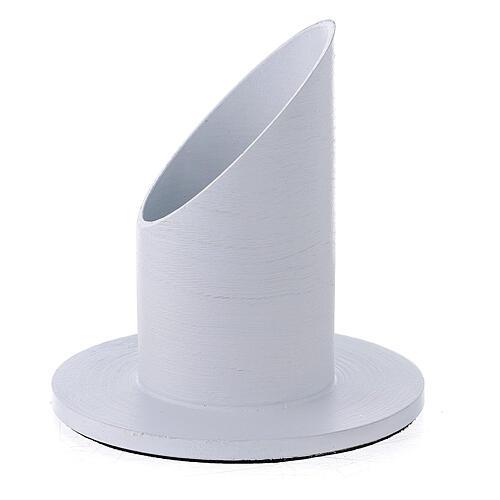 White brushed aluminium candle holder 1 1/2 in 2