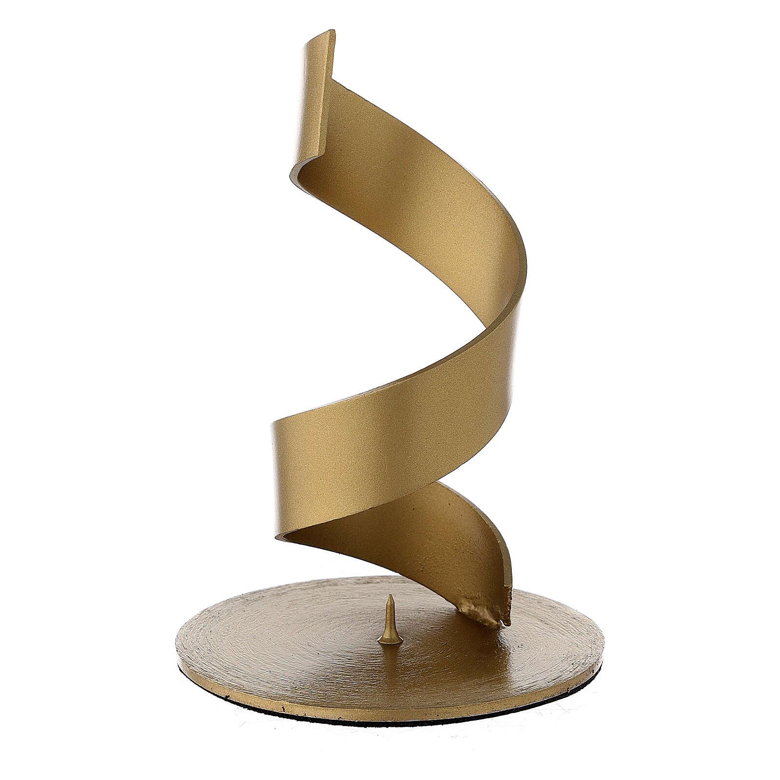 Portavela espiral punta aluminio dorado 4 cm 3
