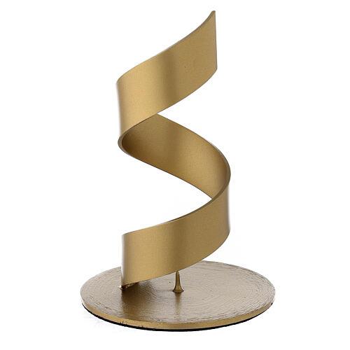 Portacandela spirale punzone alluminio dorato 4 cm 2